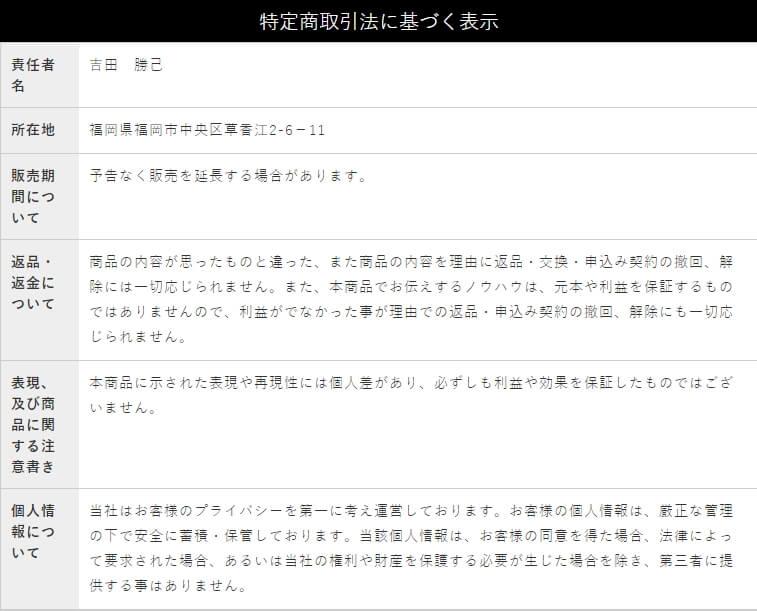 """仮想通貨楽々収入ツールの宣伝ページの特商法の画像"""""""""""