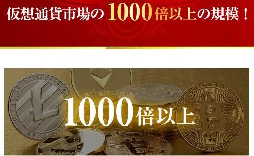 """仮想通貨市場の1000倍以上の規模を書かれた画像"""""""""""