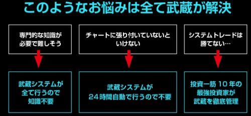"""悩みはこのFXトレードシステム武蔵が解決してくれると書かれた画像"""""""""""